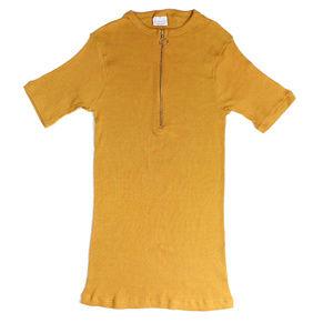 VTg 60s 70s Mustard Ribbet Knit Zipper Blouse
